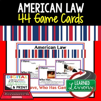 Civics American Law Game Cards