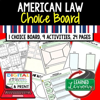 Civics American Law Choice Board and Activities Paper and Google Drive