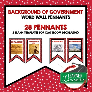 Civics Background of U.S. Government Word Wall Pennants
