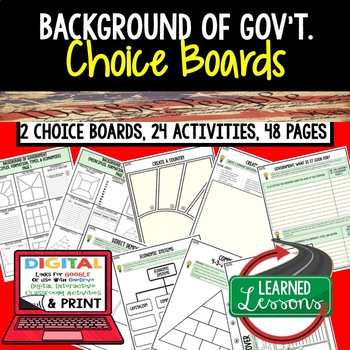 Background of U.S. Government Choice Board & Activities Google & Paper CIVICS