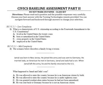Civics Baseline, Midyear, and Final Exam