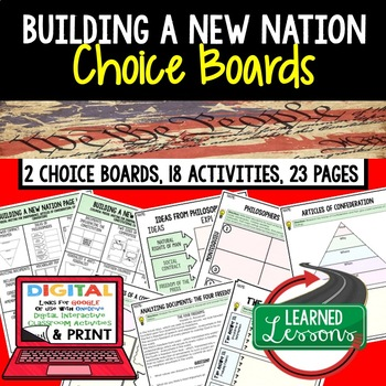 Building a New Nation Choice Boards and Activities Paper and Google Drive CIVICS