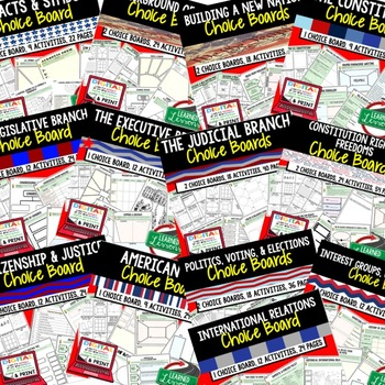Civics Activities Choice Board BUNDLE  Print & Digital, Google