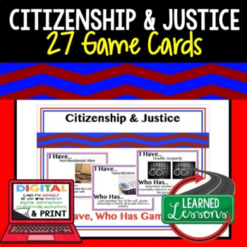 Civics Citizenship and Justice Game Cards (27 Cards)