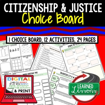 Civics Citizenship and Justice Activities, Choice Board, Print & Digital, Google