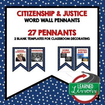 Civics Citizenship and Justice Word Wall Pennants