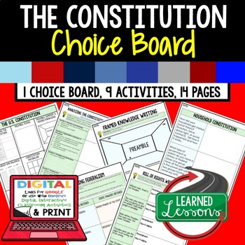 Civics Constitution Choice Boards & 14 Activities Google D