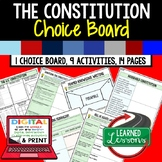 Civics Constitution Activities, Choice Board, Print & Digital, Google