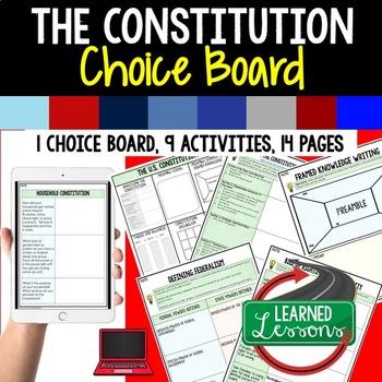 Civics Constitution Activities, Choice Board, Print & Digital, Google