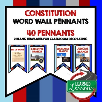 Constitution Word Wall Pennants (Civic & American History)