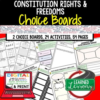 Constitutional Rights Activities, Choice Board, Print & Digital, Google CIVICS