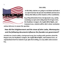 Civics DBQ-Founders on Government, The Enlightenment, John Locke and more