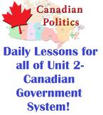 Civics- ENTIRE Unit 2 Lesson Plans- Canadian Government an