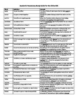 Civics EOC Review Academic Vocabulary Study Guide