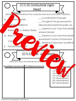 Civics EOC Review: Category 1,2,3, and 4 Review Task Cards Bundle