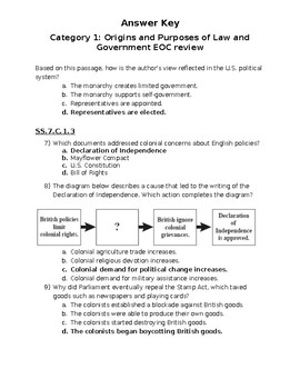 Civics EOC review Category 1 answer key