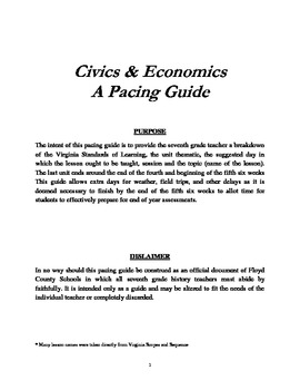 Civics & Economics Pacing Guide (Virginia SOLs)