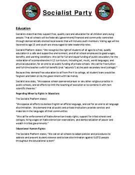 Civics Election Unit Day 2 Socialist Party Platform Reading