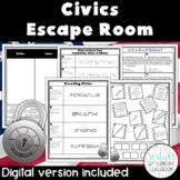 Civics Escape Room {Digital & PDF Included}