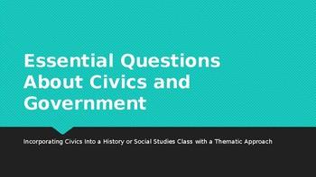 Civics Essential Questions for a Social Studies Class