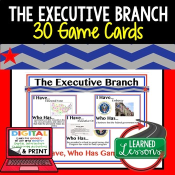 Executive Branch Game Cards, Test Prep (Civics & Government)