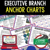 Executive Branch Anchor Charts, Executive Branch Posters, Civics Anchor Charts