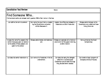 Civics Find Someone Who: Constitution Review Game