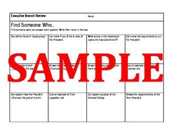 Civics Find Someone Who: Executive Branch Review Game