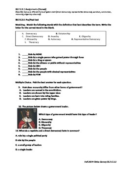 Civics Forms of Government Unit