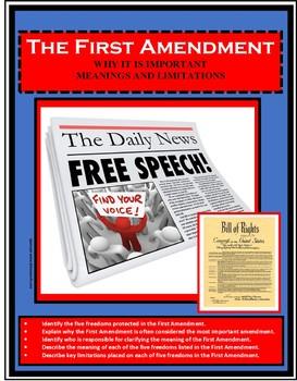 Civics - Government - FIRST AMENDMENT - Bill of Rights