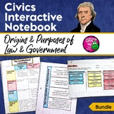 Civics & Government Interactive Notebook Origins & Purposes of Law & Government