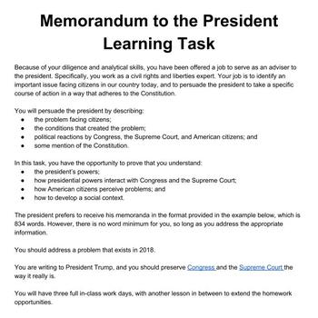 Civics & Government Project-Based Learning Assessment : Memo to the President