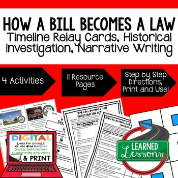 Civics How A Bill Becomes a Law Sequencing, Research, & Wr
