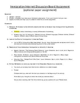 Civics: Unit 1 Immigration in US Webquest & Reflection-Paper Option Available