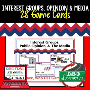Civics Interest Groups, Public Opinion, & Media 28 Game Cards