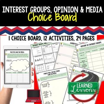 Civics Interest Groups, Public Opinion, & Media Choice Board Paper-Google Drive