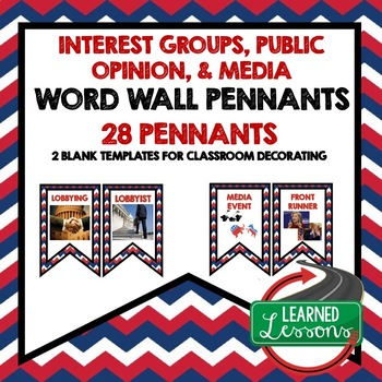 Civics Interest Groups, Public Opinion, and Media Pennant Word Wall