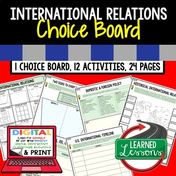 Civics International Relations Choice Board & Activities Paper & Google Drive