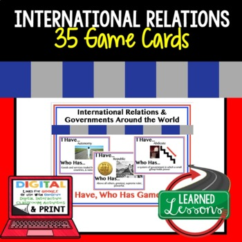 Civics International Relations I Have Who Has Game Cards