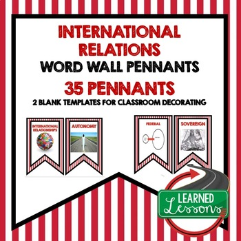 Civics International Relations Word Wall Pennants