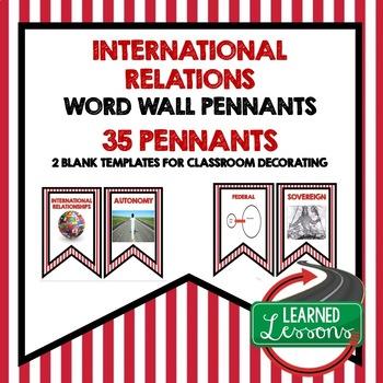 Civics International Relations Word Wall Pennants