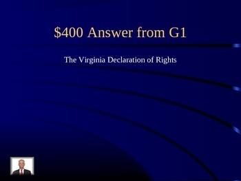 Civics Jeopardy on SOL 2