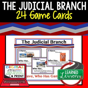 Judicial Branch Game Cards, Test Prep (Civics & Government)