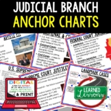 Judicial Branch Anchor Charts, Judicial Branch Posters, Civics Anchor Charts