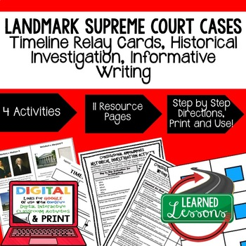 Civics Landmark Supreme Court Cases Sequencing & Writing (Paper & Google Drive)