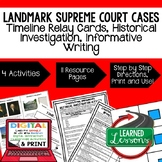 Landmark Supreme Court Cases Sequencing & Writing (Paper &