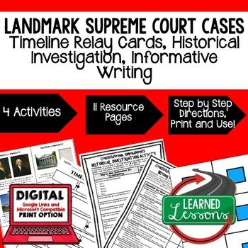 Civics Landmark Supreme Court Cases Sequencing & Writing (