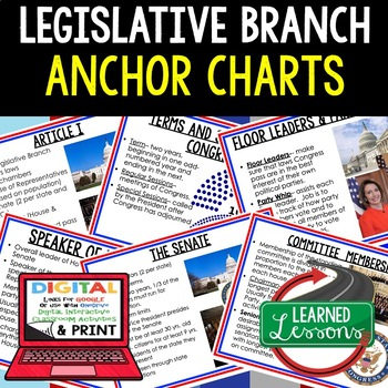 Civics Legislative Branch Anchor Charts (44 Charts)
