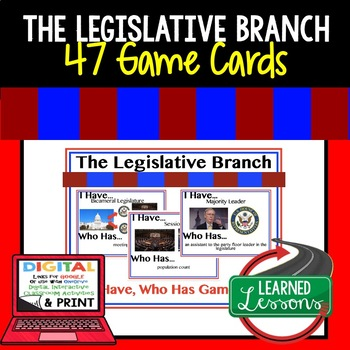 Civics Legislative Branch Game Cards (47 I Have Who Has Cards)