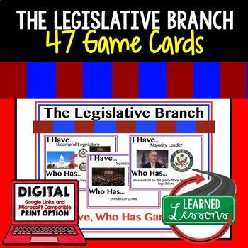 Legislative Branch Game Cards, Test Prep (Civics & Government)